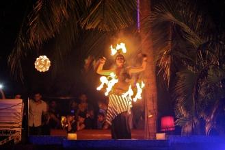 Fire dancer at Club Cubana Goa