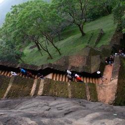 Looking down climbing up at Sigiriya, Sri Lanka