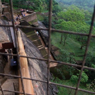 Winding stairs up the cliff at Sigiriya, Sri Lanka