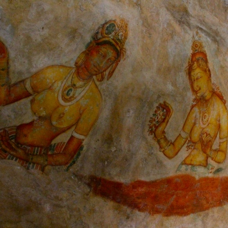 Frescos in cave dwellings at Sigiriya, Sri Lanka