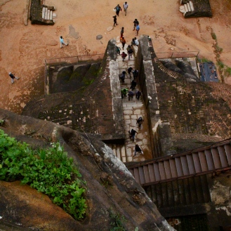 "Looking down toward ""Lion's Gate"" at Sigiriya, Sri Lanka"