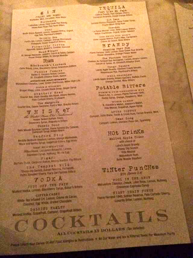 The Violet Hour Menu