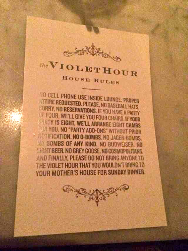 House Rules at the Violet Hour