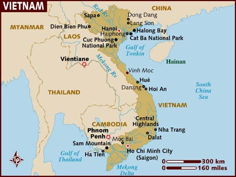 Map of Vietnam provided by lonelyplanet.com